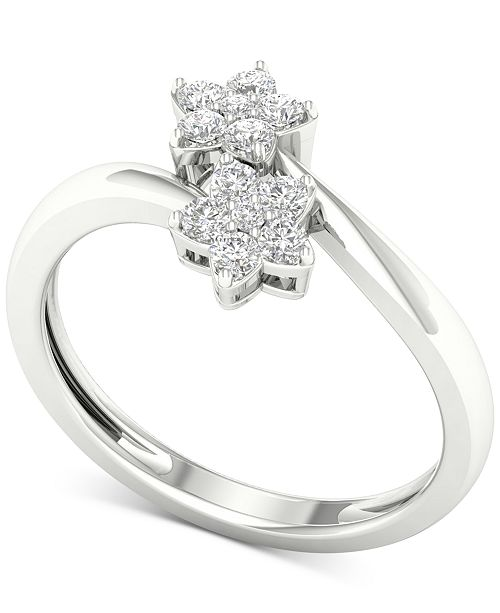 Macy's Diamond Double Cluster Bypass Ring (1/4 ct. t.w.) in 10k White Gold