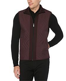 Men's Colorblocked Chevron Quilted Full-Zip Vest