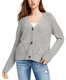 Juniors' Eyelet Cardigan Sweater