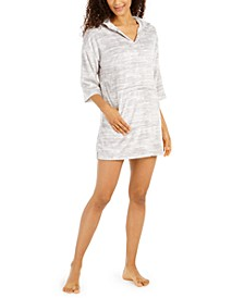Printed Silky Plush Hooded Lounge Top