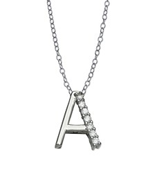 Cubic Zirconia Initial Pendant Necklace in Sterling Silver