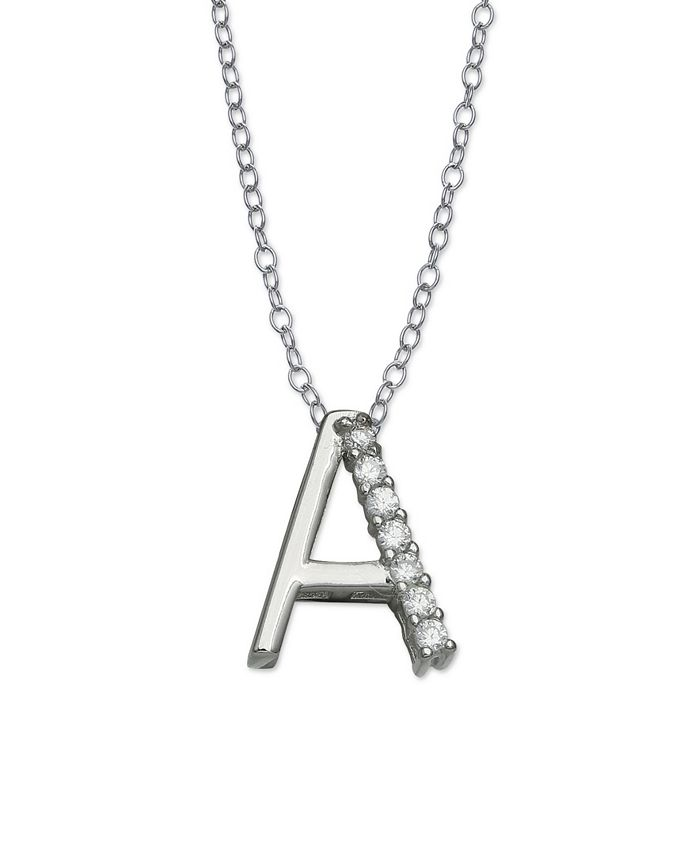Giani Bernini - Cubic Zirconia Initial Pendant Necklace in Sterling Silver