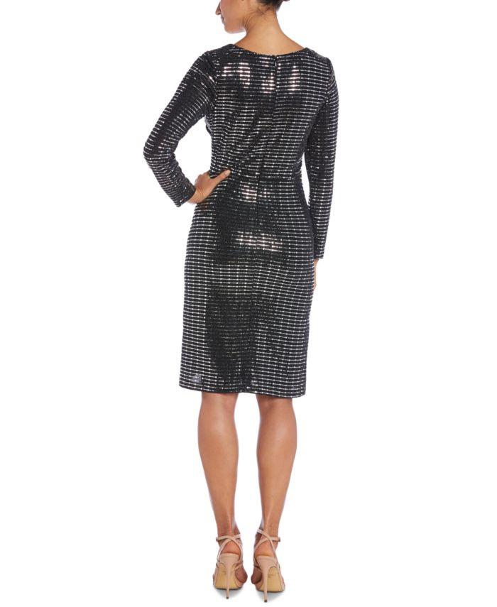 Nightway Sequined Faux-Wrap Dress & Reviews - Dresses - Women - Macy's
