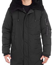 Men's Long Parka with Faux Fur Lined Hood