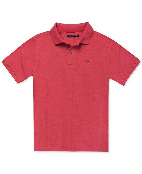 Calvin Klein Big Boys Red Heather Micro-Piqué Polo Shirt