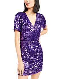Sequin Ruched-Side Mini Dress