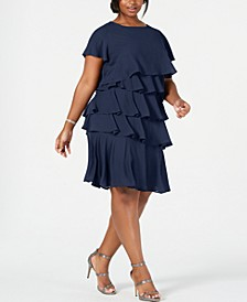Plus Size Chiffon Tiered Dress