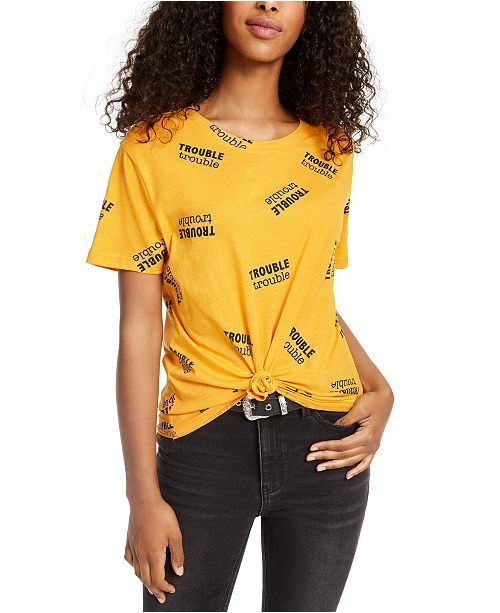 Rebellious One Juniors' Trouble Knot-Front Graphic T-Shirt