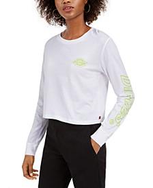 Junior's Neon Logo Cropped T-Shirt