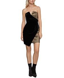 Metallic & Velvet Asymmetrical Dress