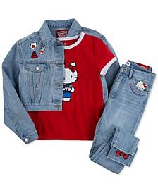 x Hello Kitty Toddler Girls Trucker Jacket, T-Shirt & Jeans