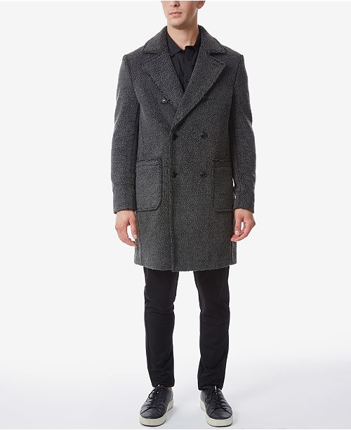Riverstone Men's Double Breasted Teddy Bear Trench Coat