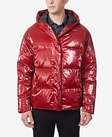 Men's Hooded Patent Nylon Bomber with Hood