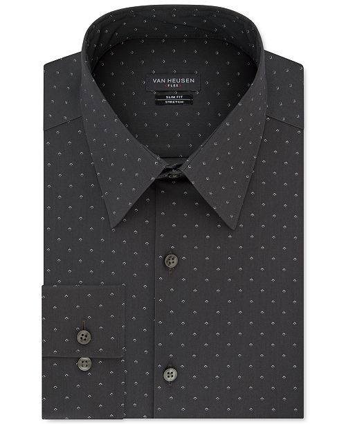 Van Heusen Men's Slim-Fit Dot-Print Dress Shirt
