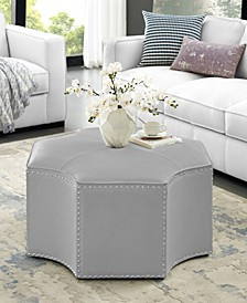 Fiorella Upholstered Octagon Cocktail Ottoman with Nailhead Trim