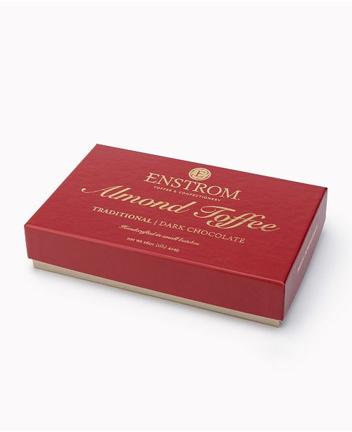 Enstrom Candies Handcrafted 1 lbs Dark Chocolate Traditional Almond Toffee