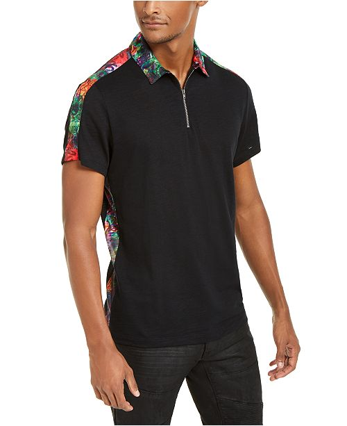 INC International Concepts INC Men's Graffiti-Trimmed Zip Polo Shirt, Created For Macy's