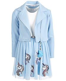 Big Girls 2-Pc. Moto Jacket & Unicorn Dress Set