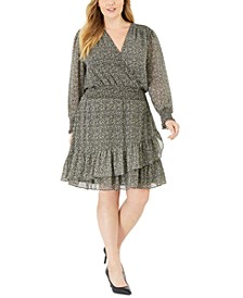 Plus Size Printed Ruffled Smocked Dress