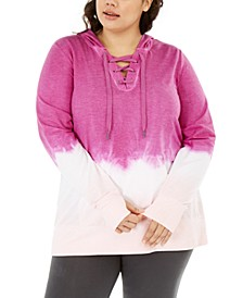 Plus Size Ombré Lace-Up Hoodie, Created For Macy's