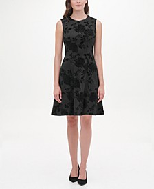 Velvet-Flocked Shadow Floral Scuba Dress