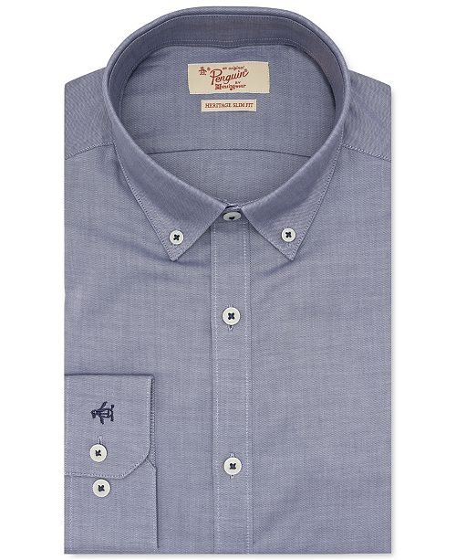 Original Penguin Men's Heritage Slim-Fit Performance Stretch Blue Solid Dress Shirt