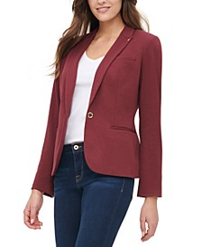 One-Button Elbow-Patch Blazer