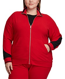 Plus Size Terry Track Jacket