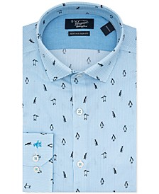 Men's Heritage Slim-Fit Performance Stretch Penguin-Print Stripe Dress Shirt