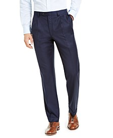 Men's Classic-Fit Pleated UltraFlex Navy Solid Suit Separate Pants