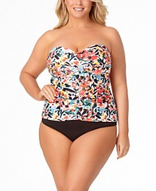 Plus Size Bandeau Tankini Top & High-Waist Bottoms