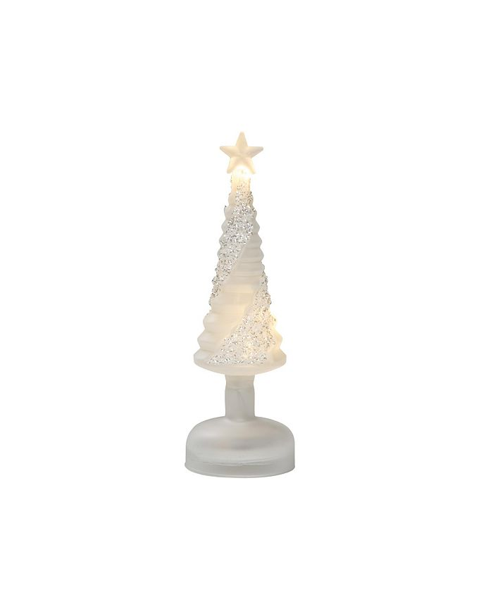 Trans Pac - Glass Small White Christmas Frosted Light Up Tree
