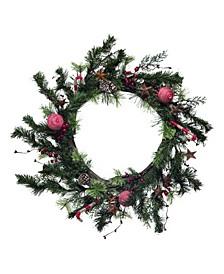 "24"" Green Christmas Twig Bauble Wreath"