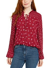 Juniors' Ditsy Floral Peasant Top
