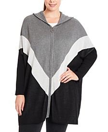 Plus Size Colorblocked Chevron Hooded Zip-Front Poncho