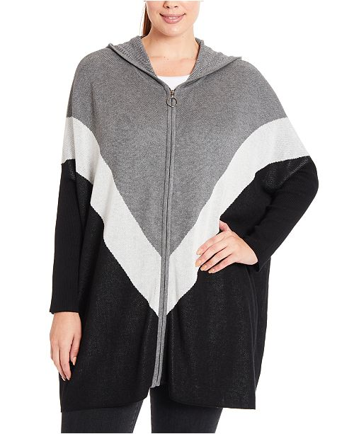 Joseph A Plus Size Colorblocked Chevron Hooded Zip-Front Poncho