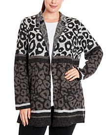 Plus Size Mixed Leopard-Knit Coatigan