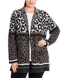 Plus Size Mixed Leopard-Knit Coatigan