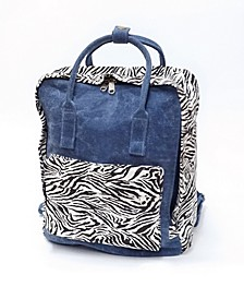 Denim With Accents Of Zebra Print Backpack