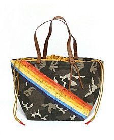 Camo Tote Bag With Racing Stripes And Drawstring