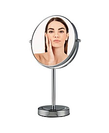"8"" Dual Sided Tabletop Magnified Vanity Makeup Mirror"