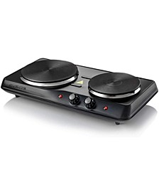Electric Double Burner with Adjustable Temperature Control