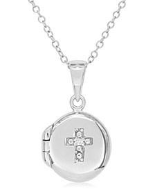 Children's Diamond Accent Cross Locket in Sterling Silver