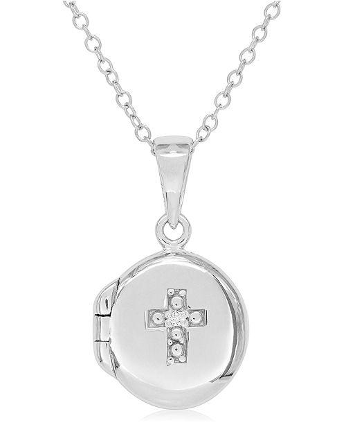 Rhona Sutton Children's Diamond Accent Cross Locket in Sterling Silver