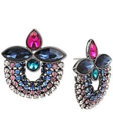 Hematite-Tone Multi-Crystal Cluster Round Drop Earrings