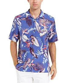 Men's Bird's Eye View Classic-Fit Floral-Print Silk Camp Shirt