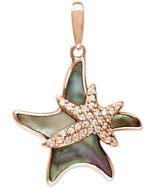 "Black Mother-of-Pearl & White Sapphire (1/3 ct. t.w.) Starfish 21"" Pendant Necklace in Rose Gold-Plated Sterling Silver"