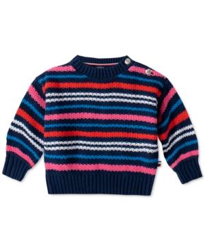 Tommy Hilfiger Baby Girls Striped Cotton Sweater