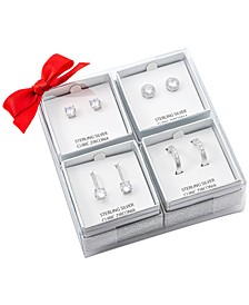 4-Pc. Set Cubic Zirconia Stud, Drop & Hoop Earrings in Sterling Silver, Created for Macy's