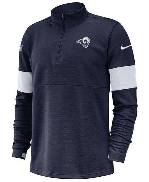 Nike Men's Los Angeles Rams Sideline Therma-Fit Half-Zip Top